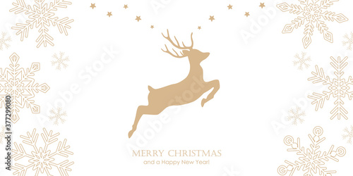 Cuadros en Lienzo bright christmas greeting card with jumping deer and snowflake border vector ill