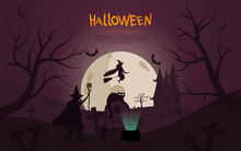 Spooky Halloween Design With Flying Witch, Bats, Ghosts, Ghouls And Haunted House On A Midnight Background, Colored Vector Illustration