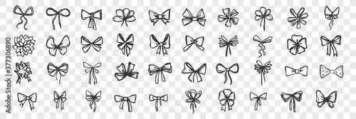 Hand drawn bows doodle set Fototapet
