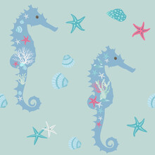 Seamless Summer, Cute Pattern Of A Stylized Seahorse.