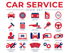 Red Blue Car Service Icons Set...
