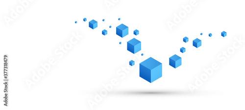 Fotografie, Obraz cubi, costruzioni, concetto, 3d, pixel