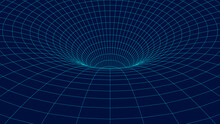 Wireframe Abstract Tunnel. 3D Vector Wormhole With A Mesh Structure. Vortex. Vector Perspective Grid.