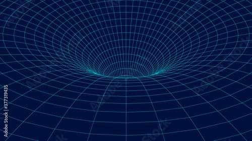 Fényképezés Wireframe abstract tunnel