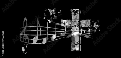 Tableau sur Toile Christian cross with music notes vector illustration