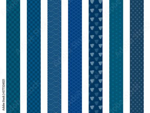 和柄 帯 仕切り素材  紺色 Fotobehang