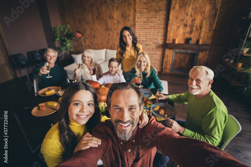Self-portrait of nice adorable cheerful positive big full family small little ki Fototapeta