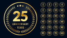 Set Of Rounded Anniversary Golden Labels Or Emblems