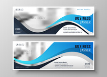 Modern Wavy Business Blue Wide Banners Set Of Two