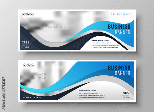 modern wavy business blue wide banners set of two Fototapeta