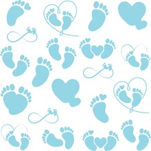 Print Hand-drawing Silhouette Background Collection. Vector Baby Born Symbols. Element For Design.
