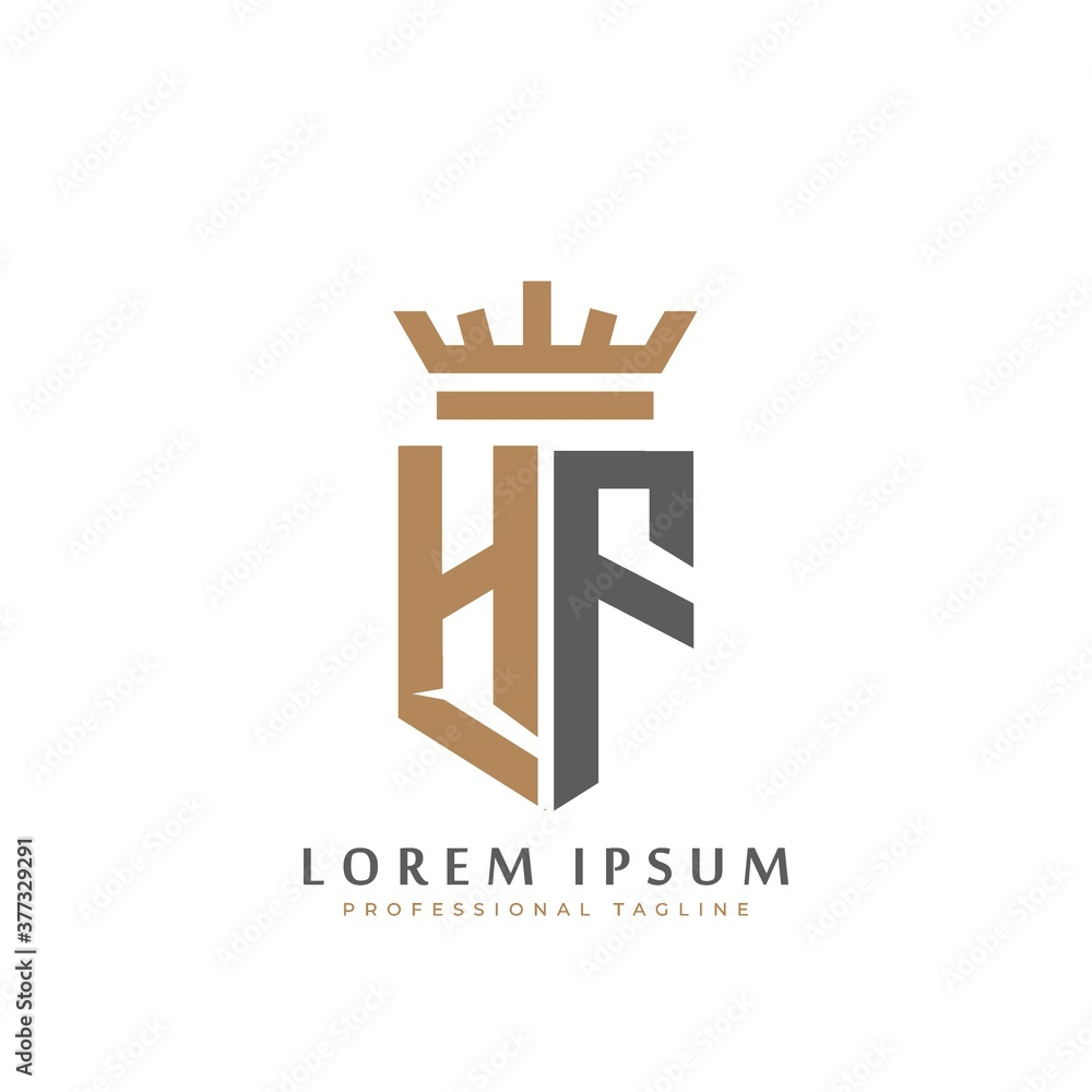 Fototapeta Premium HF Monogram of Two letters H&F. Elegant gold shield initials and crown geometric old retro graphic logo design. alphabet vector elements stock illustration
