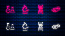 Set Line Microscope, DNA Symbol, Test Tube And Flask And Reddish Eye Due To Virus. Glowing Neon Icon On Brick Wall. Vector.