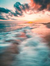 Ocean Sunset, Slow Shutter, Wa...