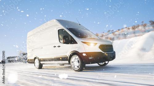 Transporter mit Lieferung fährt im Winter durch Schnee #377332840