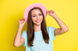 canvas print picture - Photo of friendly youth girl tourist touch her nice sunhat ready for holiday trip wear good look clothes isolated over vivid color background