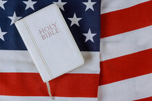 Opened Bible With On A Religio...