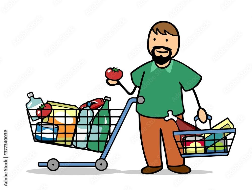 Fototapeta Voller Einkaufswagen beim Lebensmittel Einkauf im Supermarkt