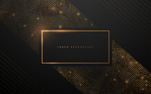 Gold Luxury Frame With Dots On Black Background