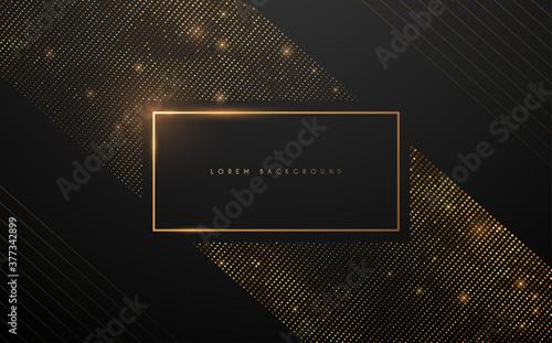 Obraz Gold luxury frame with dots on black background - fototapety do salonu