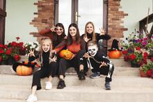 Happy Kids Celebrate Halloween...