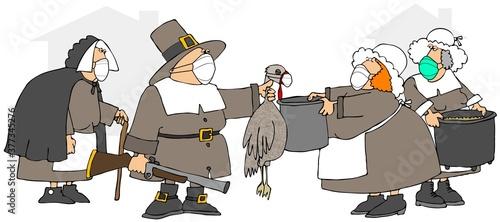 Pilgrims wearing face masks, making turkey soup Fototapet