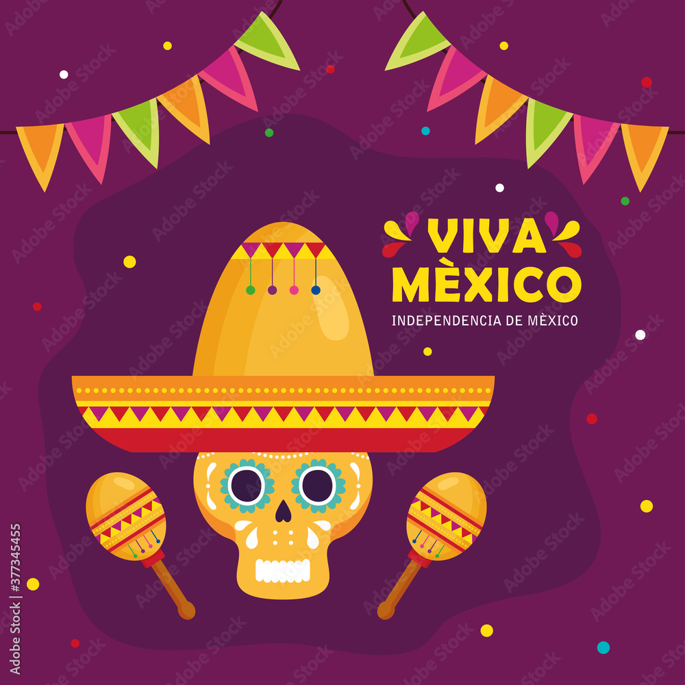 Fototapeta viva mexico, happy independence day, 16 of september and skull with hat, maracas and garlands hanging vector illustration design