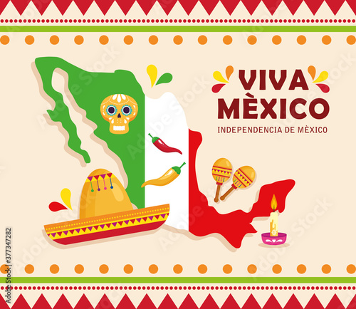 Obraz viva mexico, happy independence day, 16 of september and map with traditional icons decorations vector illustration design - fototapety do salonu