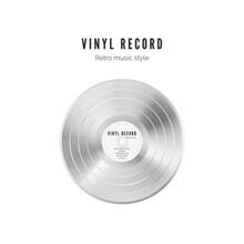 Platinum Record. Vinyl In White Color. Audio Album Old Disc. Vector Illustration