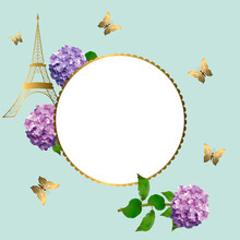 Greeting Card With Flowers Of Hydrangea, Butterflies And Eiffel Tower