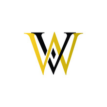 Initial Letter WV VW Intersected Monogram Logo In Gold And Black Color.