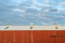 Red Warehouse And Blue Cloudy Sky, Industrial Abstract