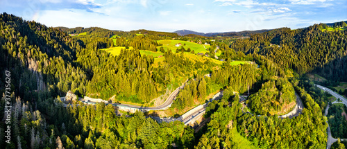 Kreuzfelsenkurve, a hairpin turn in the Black Forest Mountains, Germany
