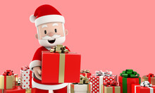 Smile Santa Claus Holding A Re...