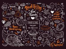 Thanksgiving Traditional Symbols. Hand Drawn Illustrations, Handwritten Lettering. Vector Collection For Congratulation Card, Invitation, Poster. Pumpkin Pie, Turkey, Corn, Cornucopia Clipart.