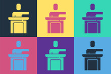Pop Art Speaker Icon Isolated On Color Background. Orator Speaking From Tribune. Public Speech. Person On Podium. Vector.