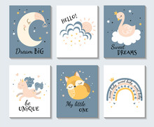 Set Of Cute Pastel Inspirational Cartoon Posters With The Moon, Owl, Sweet Dreams With Bird, Be Unique With Galloping Horse, Hello With Sun Behind Cloud And Sweet Baby, Colored Vector Illustration