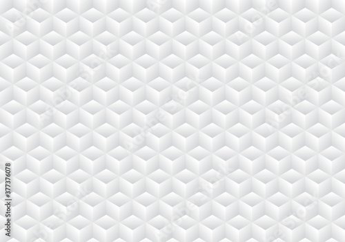 Fotografie, Obraz 3D realistic geometric symmetry white and gray gradient color cubes pattern background and texture