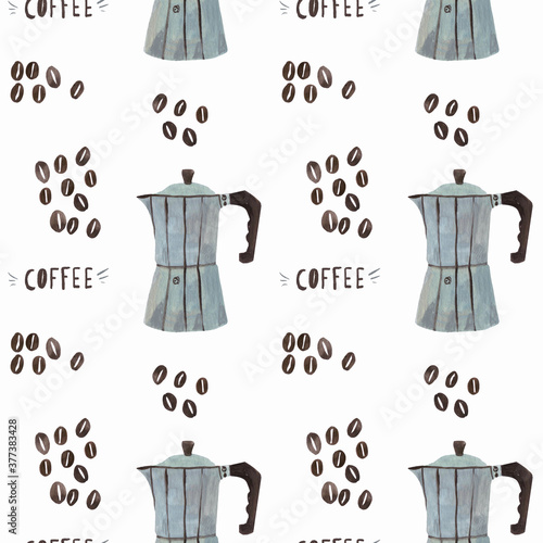 Gouache seamless pattern of coffee-maker and coffee beans Wallpaper Mural