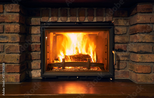 fireplace and fire close view as object or background, brick wall Wallpaper Mural
