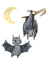 illustration of two cartoon cute watercolor bats and moon
