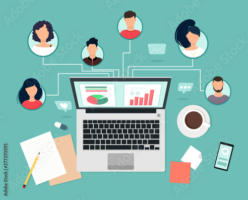 Obraz People experts with different skills work together remotely via laptop, team collaboration, communication and communication. Study and master classes, business trainings. Vector illustration in flat s - fototapety do salonu