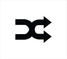 Shuffle Crossing Arrows Vector Line Icon. Shuffle Isolated Black Icon In Trendy Flat Style Isolated On White Background, For Web Site Design, App, Logo, UI. Vector Illustration EPS 10.