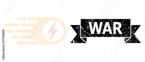 Canvas Print Distress War Ribbon Watermark and Mesh 2D Electrical Strike