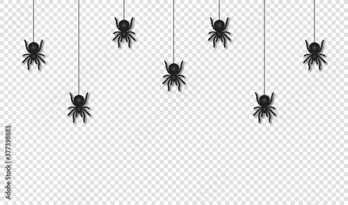 Fotografiet Hanging spiders for Halloween decoration