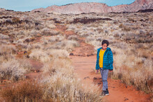 11 Year Old Boy Hiking In Utah