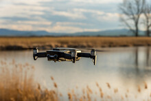 Small Modern Drone Hovering Ta...