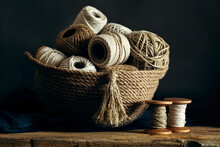 Rope And Twine In A Basket