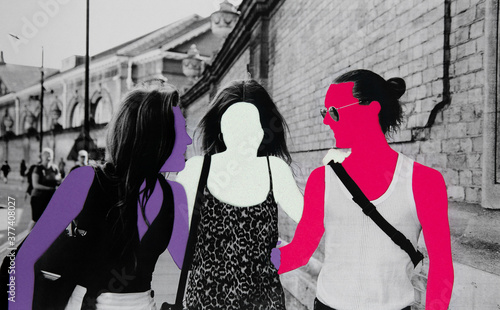 Three anonymous friends collage Fototapet
