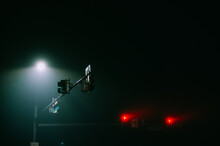 Isolated Traffic Lights In The Fog